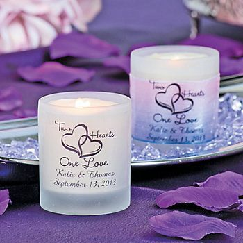 Personalized Two Hearts One Love Wedding Votive Holders Oriental Trading In 2020 Personalised Wedding Candles Wedding Votives Two Hearts One Love