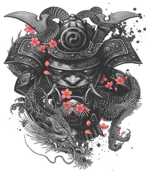 Sleeve Tattoo Samurai Irezumi Framed Art Print by - Vector Black -