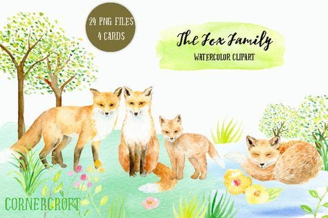 Posted by @newkoko2020 Watercolor Clipart Fox Family by Corner Croft on @creativemarket