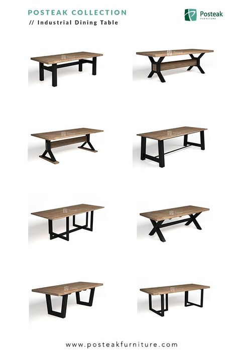 Indonesia Furniture - Industrial Dining Table, made of solid wood with combination of metal