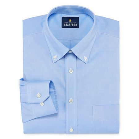 Stafford Mens Non Iron Cotton Pinpoint Oxford Button Down Collar Stretch Big And Tall Dress Shir In 2021 Stretch Dress Shirt Big And Tall Dress Shirts Mens Shirt Dress