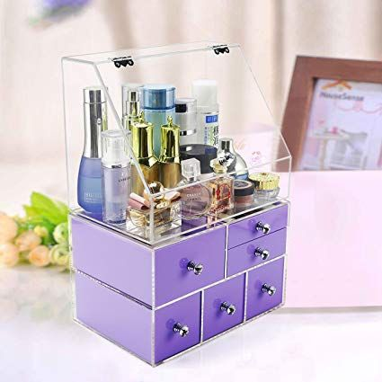 Extra Large Acrylic Makeup Organizer Countertop With Clear Box