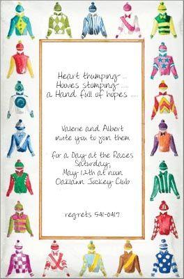 Horse Racing Invitations Silks Invitación Evento