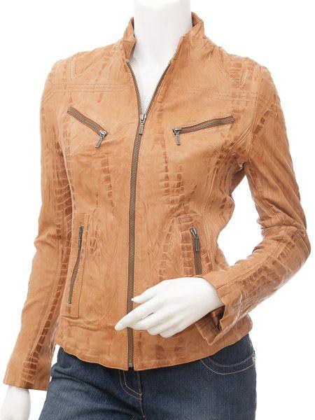 Ladies Real Leather Tan Croc Fitted Bikers Vintage Style Jacket