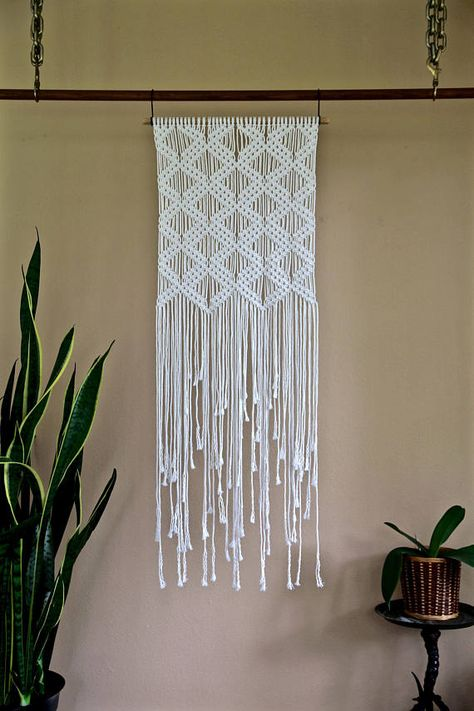 Macrame Wall Hanging Natural White Cotton Rope on 18