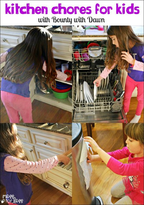 Kitchen Chores for Kids - simple ways kids can help keep the kitchen clean. #spon #QuickerPickerUpper