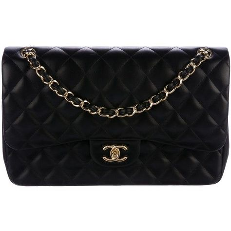 92f257de0010 Pre-owned Chanel Caviar Classic Jumbo Double Flap Bag (17,880 ILS) ❤ liked  on Polyvore featuring bags, handbags, black, leather flap handbags, chanel  ...