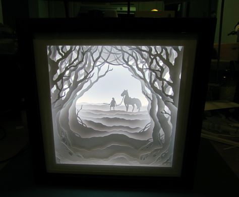 Extremely simple and completely bad-ass art project! Just cut out paper and layer them in a shadow box with LED lighting