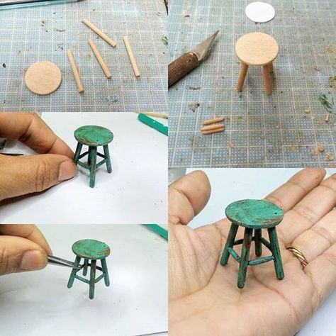 barbie doll house diy furniture Mini Furniture for dolls houses Hot glue fire painted with glass paint. Dollhouse Miniature Tutorials, Miniature Crafts, Miniature Dolls, Diy Dollhouse Miniatures, Miniature Houses, Homemade Dollhouse, Ikea Dollhouse, Dollhouse Design, Miniature Chair