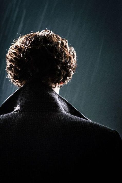 Sherlock in the rain. Now just turn around and show us your cheekbones and your blue eyes and it all will be okay.