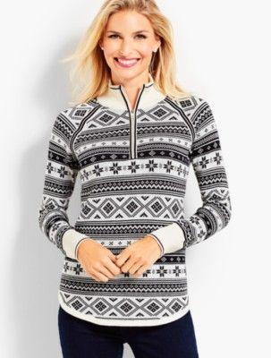 Thermolite(R) Fair Isle Half Zip Sweater