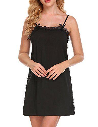 Womens Long Sleeve Lace Trim Sleepwear Nightwear Dress Casual Lingerie Nightgown Nightdress S-XXL