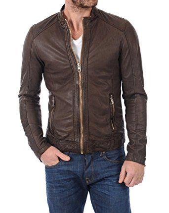 LEATHER FARM Mens Lambskin Leather Bomber Motercycle Jacket