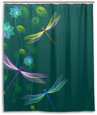 Amazon Com Jstel Decor Shower Curtain Dragonfly Flower Pattern