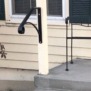 Single Post Ornamental Hand Rail 1 Or 2 Step Railing For Stairs Steel Handrail With Hardware Super Sturdy Handcrafted Usa In 2020 Handrail Railing Step Railing