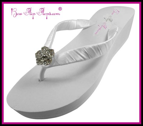 Bridal Flip Flops rose Ivory White Wedge Rhinestone Womens Wedding Platform Satin Flip Flops
