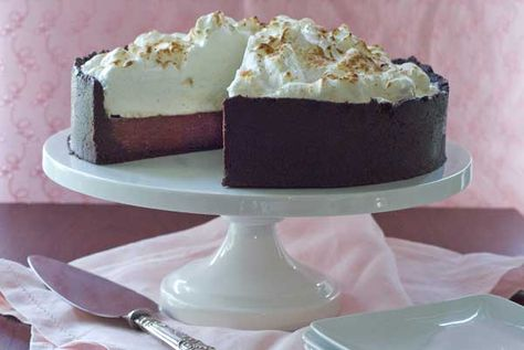 Chocolate Cream Pie with a Meringue topping - gluten-free and dairy-free