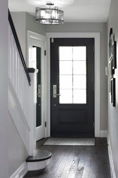 Love the light grey walls white trim and dark wood floors for