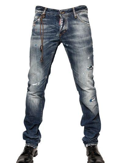 Dsquared 19cm Washed Denim Slim Fit Jeans Luisaviaroma Luxury Shopping Worldwide Shipping Florence Denim Attire Short Men Fashion Denim Fashion
