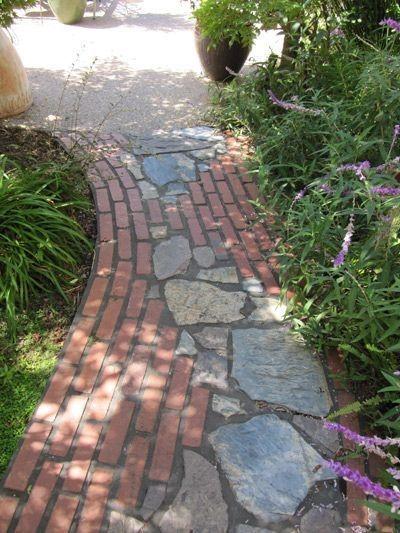 Garden Path Ideas I Like The Juxtaposition Of Man Made With Natural Elements Brick Garden Walkway Landscaping Patio Garden