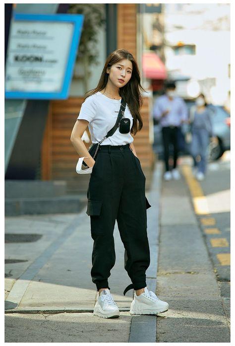 cargo pants women outfit korean