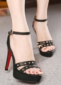 Diamond Stud Strap Nude Sandals with Ankle Straps
