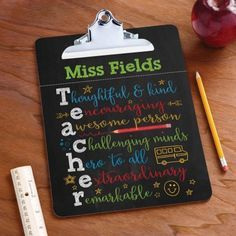 Colorful Teacher Personalized Clipboard