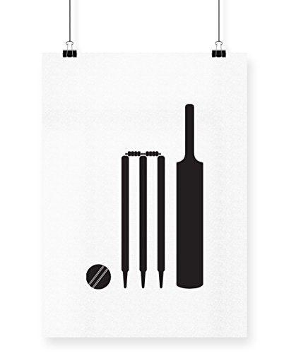 Hippowarehouse Cricket Bat Ball And Stumps Printed Poster Wall Art Wall Design A3 Cricket Bat Cricket Poster Cricket Logo