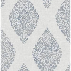 Advantage Pascale Light Grey Medallion Strippable Wallpaper Covers 56 4 Sq Ft 2834 25044 The Home Depot Medallion Wallpaper Grey Wallpaper Navy Wallpaper