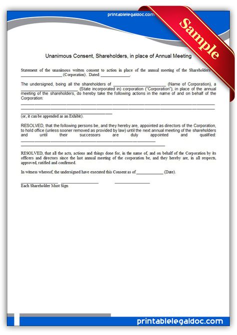 Printable unanimous consent shareholders in place of annual - shareholder agreement