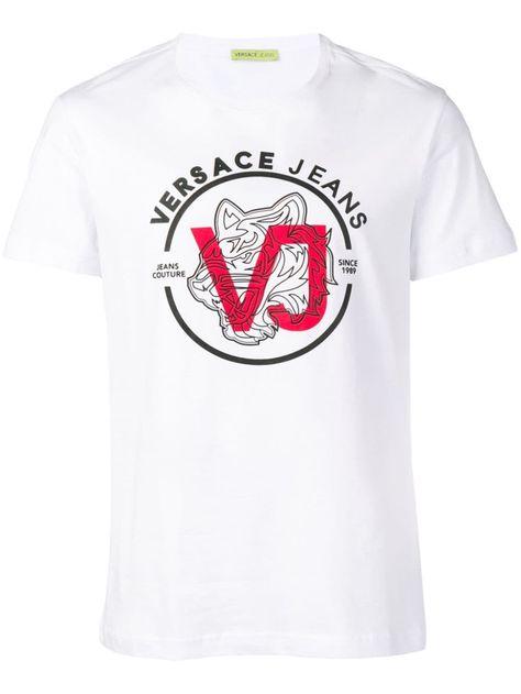 Versace Jeans Logo Print T Shirt White Versace Jeans Jeans Logo Print T Shirt