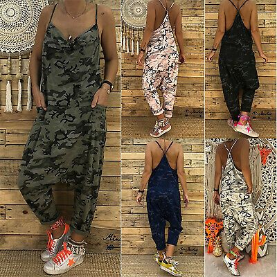 Womens Camo Print Romper Ladies Summer Beach Playsuit Trousers Strappy Jumpsuit