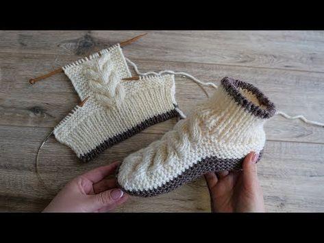 Следки – сапожки с косами спицами | Homemade knitted slippers - YouTube