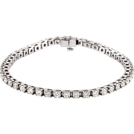 Platinum 4 1 2 Ct Round Diamond Si1 G H Line Tennis Bracelet Diamondbracelets Bracelets Women Fashion Diamond Diamond Bracelets