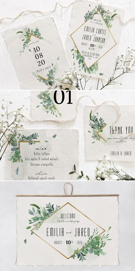 Gold & Greenery Wedding Suite Design PSD