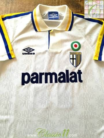 ce8ee7744b62 Official Umbro Parma home football shirt from the 1992/93 season. Complete  with #11 (Faustino Asprilla's squad number) on the back of the s…