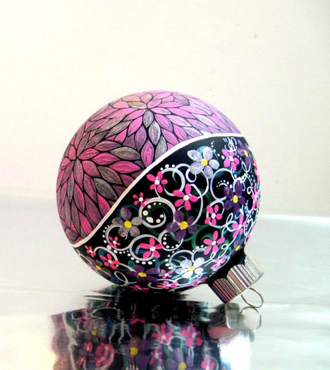 Pink and Silver Hand painted Christmas Ornament