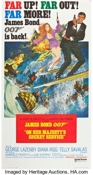 Movie Posters James Bond On Her Majesty S Secret Service United Artists 1970 Three Sheet 40 5 X 77 James Bond Movie Posters James Bond Movies James Bond