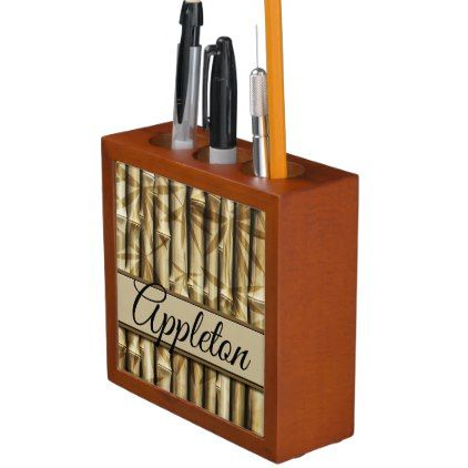 Personalized Your Name Elegant Bamboo Wood Pencil Pen Holder Zazzle Com Pen Holder Diy Pen Holders Wood Gifts