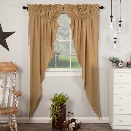 Khaki Tan Farmhouse Curtains Simplicity Flax Rod Pocket Cotton