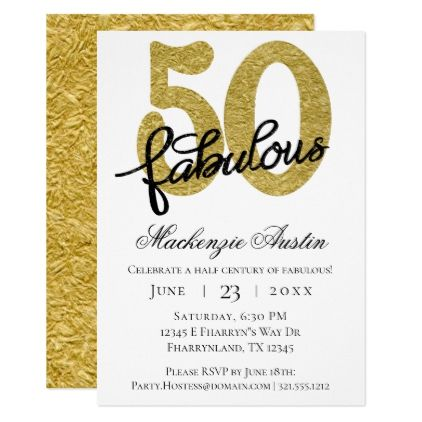 50 And Fabulous 50th Gold Black Birthday Party Invitation Zazzle Com 50 And Fabulous Birthday Party Invitations Party Invitations