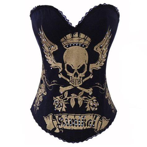 Grebrafan Punk Rock Skull Print Cotton Corset Busiter Top Clubwear Showgirl