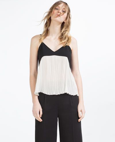 177e79688b43b Image 2 of CONTRAST PLEATED CAMISOLE TOP from Zara