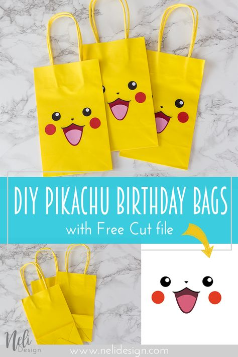 DIY Pikachu party bags for a kid's birthday or party. Free cut file and printabl… DIY Pikachu party bags for a kid's birthday or party. Free cut file and printable included. Easy and cheap solution for party favors Pokemon Party Bags, Festa Pokemon Go, Pokemon Themed Party, Pokemon Birthday Cake, Pokemon Gifts, Pokemon Bag, 6th Birthday Parties, Boy Birthday, Birthday Ideas