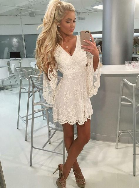 d6cc0243ed3 Outlet Absorbing Lace Homecoming Dresses A-Line V-Neck Open Back Bell Sleeves  Short White Lace Homecoming Dress With Beading