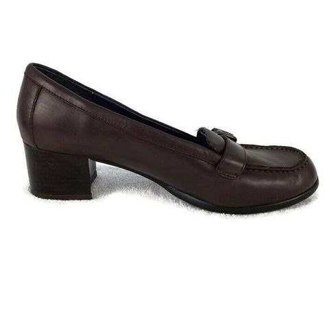 93fdfa3b94a5ae Details about Tommy Hilfiger womens 9M loafer block heel slip on buckle  brown moc toe leather