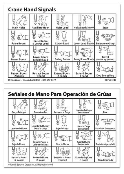 Crane Hand Signal Card English Spanish Hand Signals Plumbing Problems Pack Of Cards