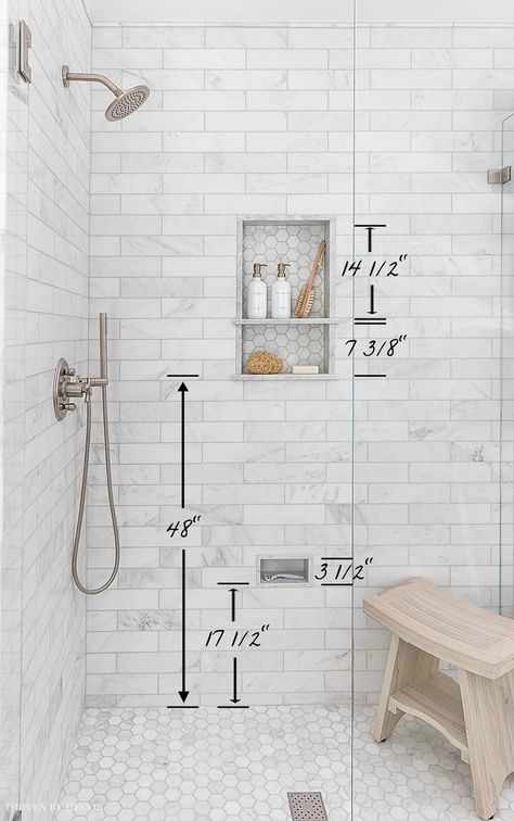 Our shower niche height measurements! Lots of other helpful bathroom measurements in this post too! Master Bathroom Renovation, Bathroom Inspiration, Bathroom Remodel Master, Bathroom Redo, Shower Remodel, Bathroom Remodel Shower, Bathroom Renos, Bathroom Renovations, Bathroom Design