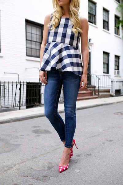 Double Gingham and Denim - Fresh Gingham Outfit Ideas Perfect for Summer - Photos