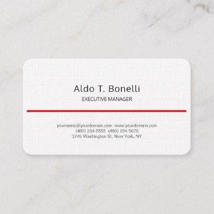 Linen Modern Minimalist Plain Red White Business Card Zazzle Com White Business Card Fitness Business Card Red And White